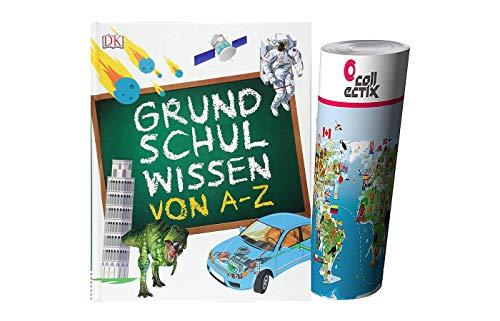 DK Verlag Grundschulwissen von A-Z (Gebundenes Buch) + Kinder Weltkarte von Collectix