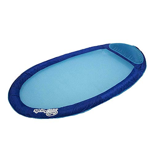 SwimWays Original Spring Float - Floating Swim Hammock for Pool or Lake - Light Blue/Dark Blue