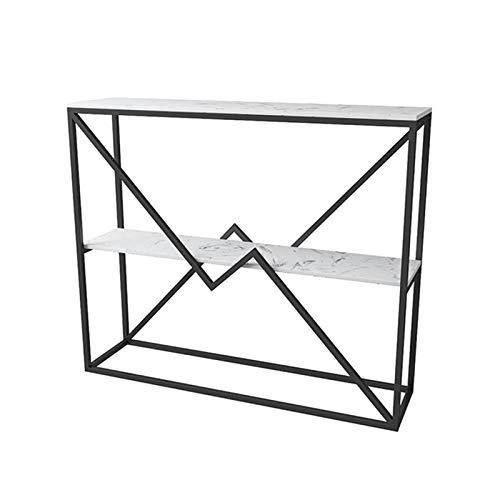 FUFU Mesa Pequeña Marco de Metal, Mesa de café Moderno, Mesa de exhibición de Mesa Lateral, Utilizada para la Entrada del Pasillo de la Sala de Estar (Color : Black)