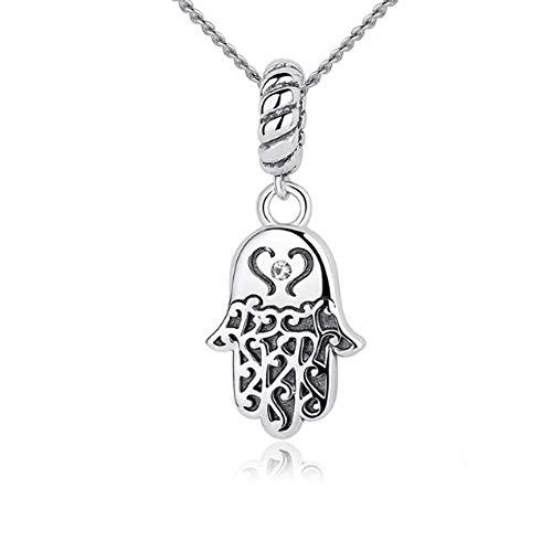 IzuBizu London - Collar con colgante de mano de Fátima de plata de ley 925, diseño de corazón de la suerte, caja de regalo de lujo