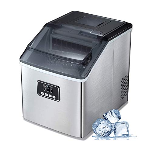 Electactic Ice Maker, 40Lbs/24H, Machine with Ice Scoop and Basket, Silver