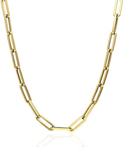 14K Yellow Gold 5mm Paperclip Elongated Link Chain Necklace 16 30 16 product image