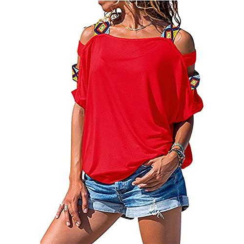 Mayntop - Maglietta estiva da donna, a maniche corte, tinta unita, stile boho, stile etnico, a-rosso, 40