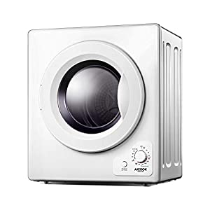 AICOOK 4 KG Vented Tumble Dryer with with Sensor Dry, 1200W Compact Tumble Dryer with Stainless Steel Tub, Control Panel Downside Easy Control for 5 Automatic Drying Mode, White