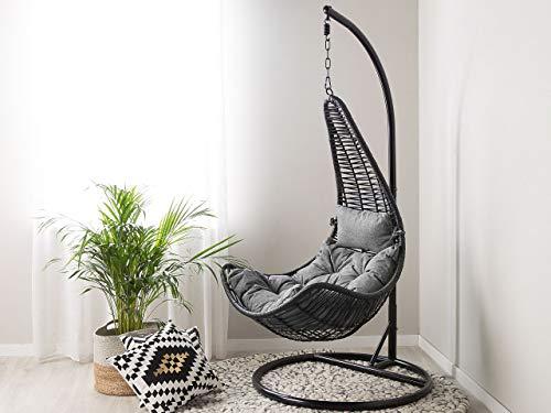 Fotel wiszący ze stojakiem rattanowy czarny z szarymi poduszkami bujak Atri