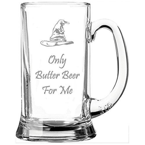 "Glas-Bierkrug, an Harry Potter angelehnt, mit Aufschrift ""Only Butter Beer For Me"""