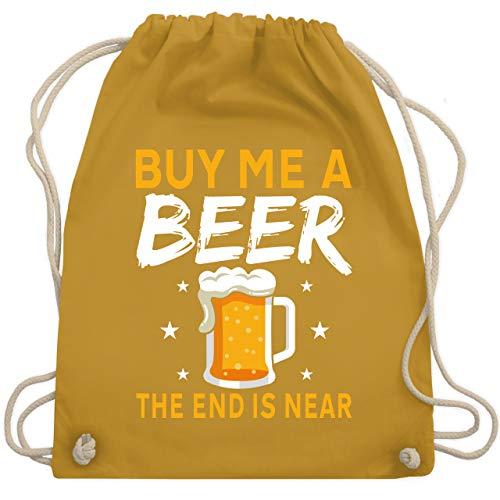 Shirtracer JGA Junggesellenabschied Männer - Buy me a beer the end is near Bier Sterne - Unisize - Senfgelb - Spruch - WM110 - Turnbeutel und Stoffbeutel aus Baumwolle