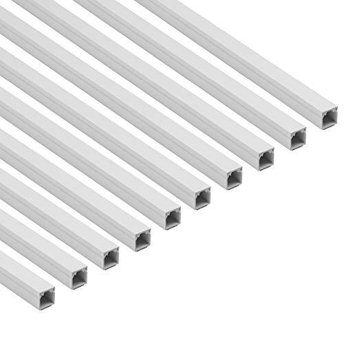 D-Line 1D1616W/10 Canaleta Cuadrada, tapacables Autoadhesivo, gestión de cableado para ocultar cables - 10 x 16 mm (anch.) x 16 mm (alt.) - Tramos de 1 m (Multipack de 10 m) - Blanco