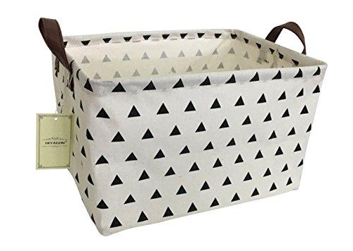 HIYAGON Rectangular Storage Box Basket for Baby, Kids or Pets - Fabric Collapsible Storage Bin for Organizing Toys,Nursery Basket,Clothing,Books, Gift Baskets (Triangle)