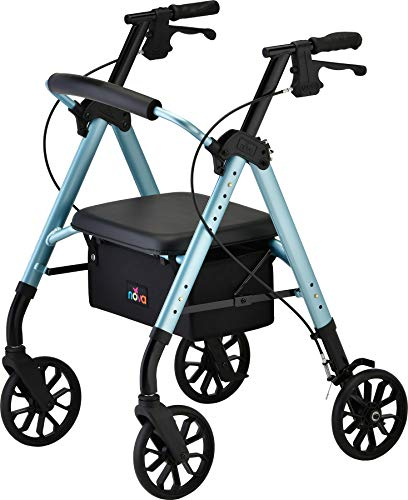 NOVA Medical Products Star 8 Rollator Walker with Perfect Fit Size System, Lightweight & Foldable, Easy to Lift & Carry, Great for Travel, Color Sky Diamond Blue, Standard