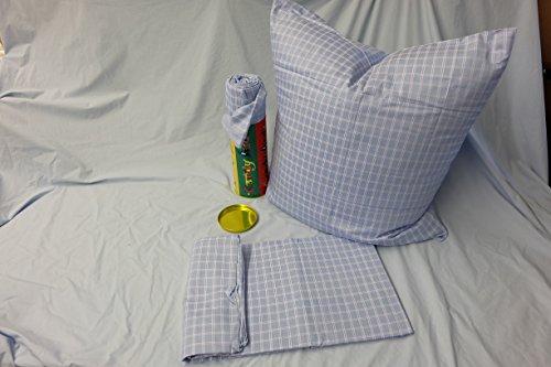 Luxi Vintage Shabby de algodón.Ropa de Cama Azul Color Blanco, 135–200x 80–80, en Caja de Regalo