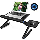 Adjustable Laptop Stand - Foldable Laptop Table Stand with 2 CPU Cooling Fans & Detachable Mouse Pad, Portable Laptop Riser, Ergonomic Computer Stand as Standing & Sitting Desk