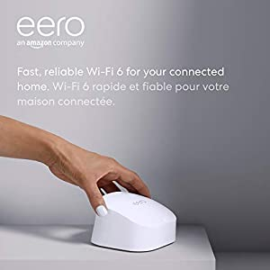 Amazon eero 6 dual-band mesh Wi-Fi 6 router, with built-in Zigbee smart home hub