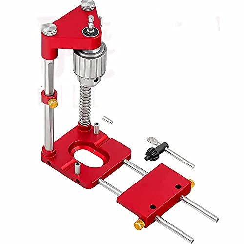 The Best Woodworking Drill Locator in 2021 - Portable Adjustable Precision Punch Locator Drill Template Guide, Mini Bench Drill Press Machine with High Speed for Fathers and Husbands (Red)