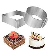 Yuragim Anello per torta regolabile in acciaio inox, telaio rettangolare per dolci, per torte e pizza, da cuocere e decorare, con clip per fissare con lo stampo a saltello, 2 forme