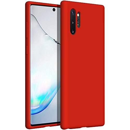 YATWIN Funda de Silicona Compatible con Samsung Note 10 Plus 6.8', Carcasa Samsung Note 10 Plus Case, Carcasa de Sedoso-Tacto Suave, Protección Funda Protectora 3 Tapas Estructura, Rojo