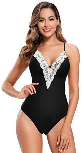 SHEKINI Donna Costume da Bagno Un Pezzo Intero Elegante Bikini V-Collo Cutout Tracolla Regolabile Halter Classico Sexy Triangolo Costumi Interi Monikini da Spiaggia (M,Nero-2)