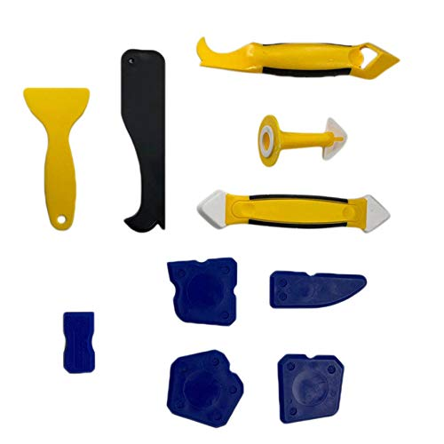 SJHFG 10 piezas de pegamento kit de raspador de pegamento de vidrio Squeegee boquilla de calafateo sellador de pala de plástico Removertool baño cocina azulejos de cerámica