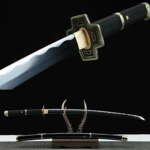 Yongli Sword Handmade Shusui,Yubashiri,Wadou Ichimonji,Sandai Kitetsu Anime One Piece Sword Roronoa Zoro Katana Cosplay Replica 1045 Carbon Steel (Yubashiri)