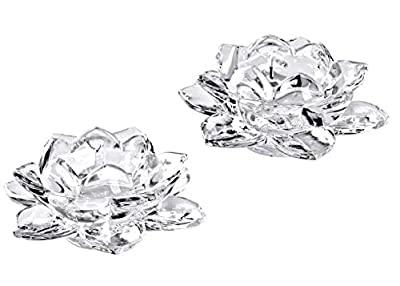 Slymeay 5 Inches Crystal Glass Lotus Candle Holders Creative Decoration for Home Decoration Votive Activity Tealight Holders Wedding Gift Idea, Set of 2 from Slymeay
