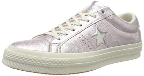 Converse Unisex-Erwachsene Cons One Star Metallic Leather OX Sneakers, Pink Rosa Silber Rosa Silber, 41 EU