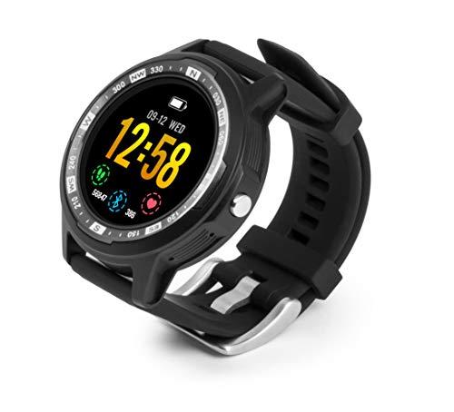Technaxx Unisex– Erwachsene Smartwatch TX-SW3HR Fitness Tracker GPS Sportuhr Schrittzähler Pulsmesser, schwarz, M/L