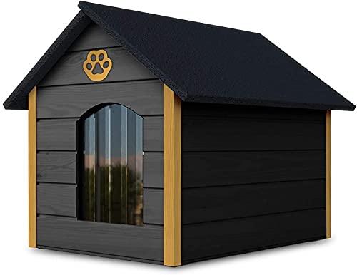 Outetntin Hundehaus aus Holz - Gemütliches und stilvolles Haus für Ihren Hund mit isolierten Wänden - Wasserdicht - Größe XL (Grau - Gelb)