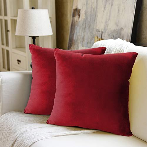 WEYON Juego de 2 fundas de cojín de terciopelo decorativas con cremallera oculta resistente para sofá, dormitorio o coche, terciopelo, Color rojo., 50 x 50 cm