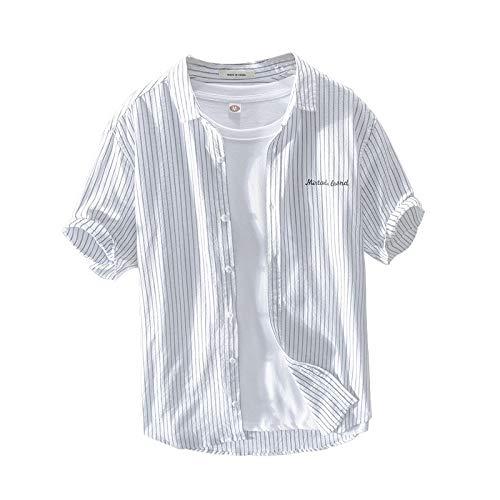 Camisa de Manga Corta para Hombre Camisa Retro de Rayas Verticales de Ajuste Regular de algodón Cómoda y Transpirable Camisa de Solapa Informal XX-Large