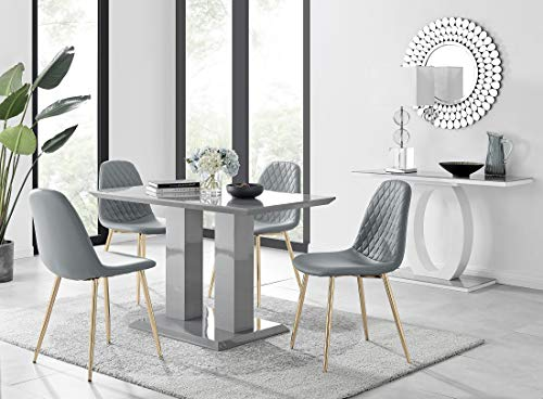 Imperia 4 Modern Grey High Gloss Dining Table And 4 Luxury Corona Gold Dining Chairs Set (Dining Table + 4 Elephant Grey Corona Gold Chairs)