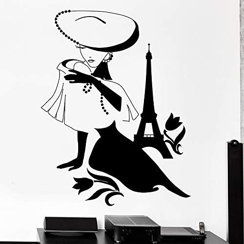 Tianpengyuanshuai mode dames wandtattoo Parijs Frankrijk meisje vinyl venster sticker slaapkamer winkel decoratie