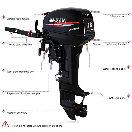 Best Bargain LiFuJunDong 2 Stroke 18HP Outboard Motor Engine Boat Engine Fishing Boat 246CC Water-Co...
