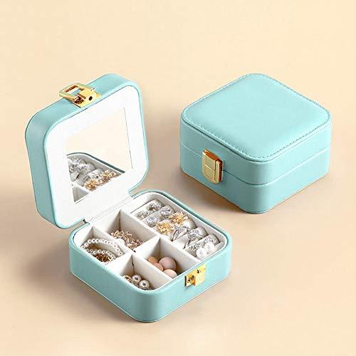 ASDMRQ Joyero, caja de joyería de cuero, caja de joyería de almacenamiento, caja de joyería cuadrada portátil de viaje de las señoras, caja de joyería de diseño