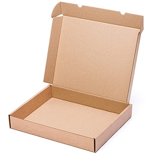 TeleCajas® | (25x) Caja de Cartón Postales Kraft | Cajas Automontables con Tapa para Almacenaje | Medidas: 45x35x07 cms ~ Portátil | Lote de 25 uds