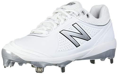 New Balance Women's Fuse V2 Metal Softball Shoe, White/Silver, 8