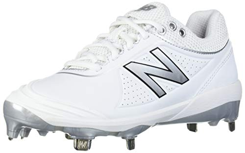 New Balance Women's Fuse V2 Metal Softball Shoe, White/Silver, 5 M US