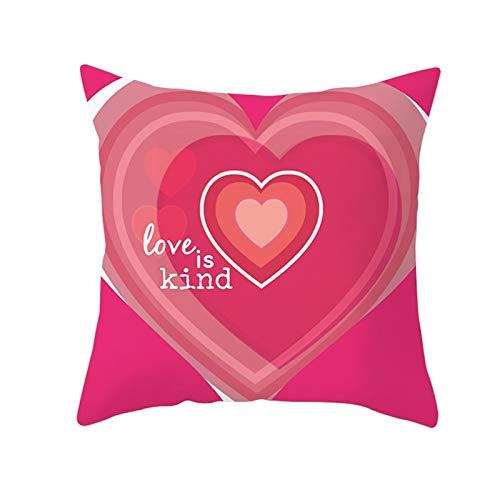 KnBoB Funda de Cojin 45 x 45 cm Love Is Kind Corazones Rosa Rojo Poliéster Estilo 20