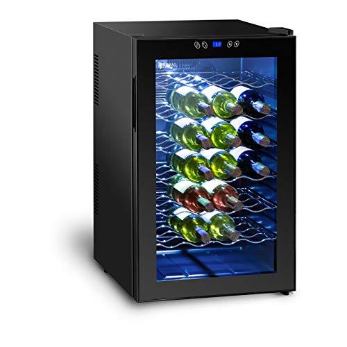 Royal Catering Weinkühlschrank Getränkekühlschrank RCWI-70L (130 W, 6 Einlagen, 70L, 11-18 °C, Stahlgehäuse, doppelverglaste Tür) Schwarz