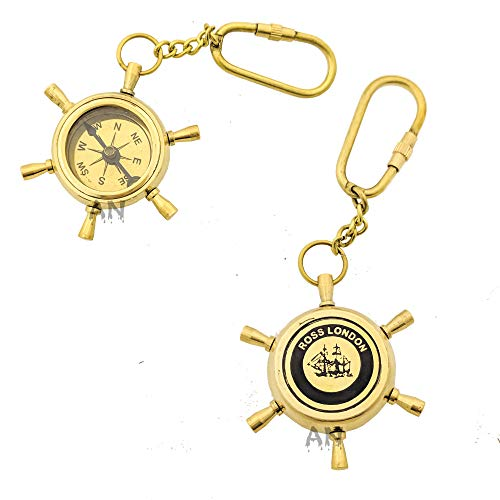 Ahad Nautical Brass Ship Wheel Compass Key ring, Key Chain, Gift Keyring, Unique Gift, Brass keychain, Bike keychain, Christmas Gift, Shiny, Pocket Size