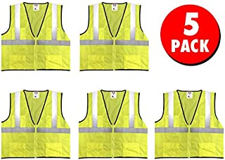 Safety Main Economy High Visibility All Mesh Vest, Large, 5 Pack