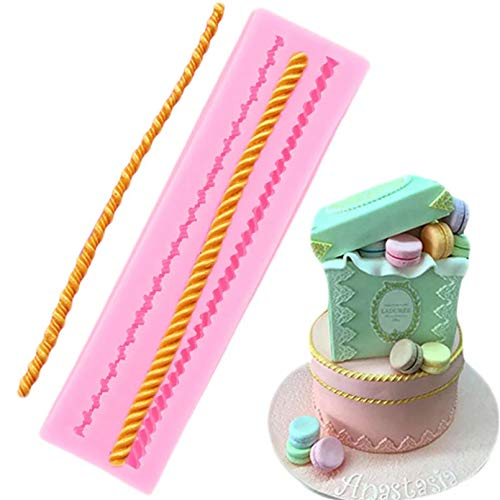 SKJH 3D Hemp Rope Silicone Molds Cake Border Fondant Mould Cake Decorating Tools Chocolate Gumpaste Candy Clay Resin Moulds