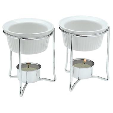 Prepworks by Progressive Ceramic Butter Warmer Set, Fondue Warmer, 2 Tea Lights Included, Chrome Wire Stands, Dishwasher Safe - Set of 2