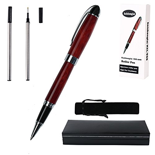 Ballpoint pen gift office writing set KZL908 Gel Ink Roller Ball Pens for Signature Calligraphy metal materials body with gift box and 2 black ink refill red barrel classic design