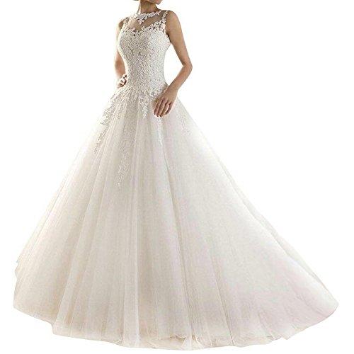 Brautkleid Hochzeitskleider Lang Prinzessin Damen Brautmode Spitze Tüll A Linie Elfenbein EUR46