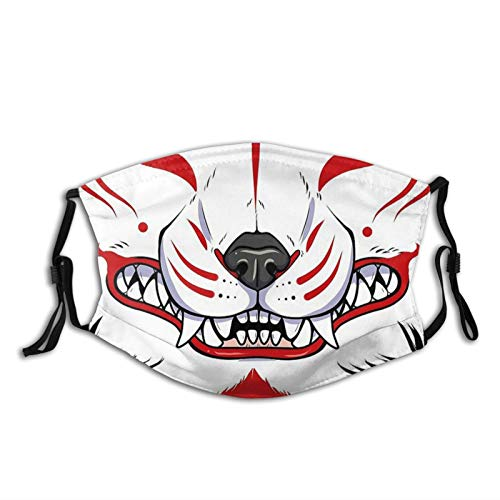 Kitsune Grin-Face Mask, Breathable-Adjustable-Dust Filter Mask Balaclavas,Adult Unisex Black