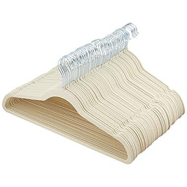 AmazonBasics Velvet Suit Hangers, 50-Pack,  Ivory/Beige