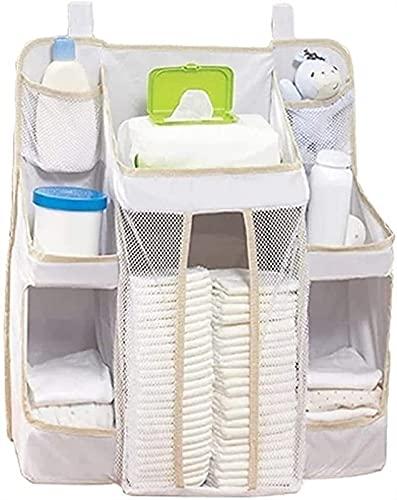 Organizador De Pañales Colgante, Bolsa Organizadora De Almacenamiento Colgante Para Carrito De Pañales De Bebé, Almacenamiento De Pañales De Bebé Para Cambiador, Guardería Y Pared (Color : White)