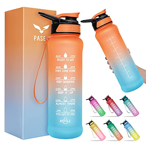 PASER Water Bottle 32 oz with Straw, Motivational Time Marker & Straw Brush, Leakproof Tritran BPA Free Fast Flow Water Jug for Fitness, Gym and Outdoor Sports(Included Packages Box)