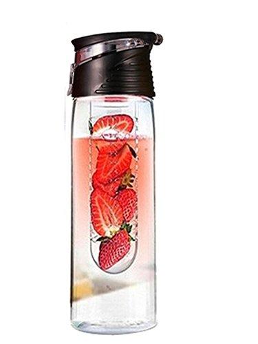 Cocoso Trinkflasche mit Früchteeinsatz und Klappdeckel, für Zitronensaft, BPA-frei (kein Bisphenol A), 800 ml, Schwarz