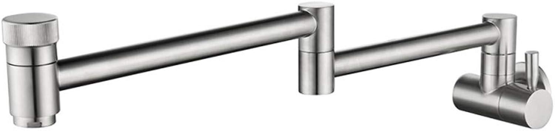 QJIAXING Spülbecken Wasserhhne an der Wand befestigte gebürstetes faltendes Kupfer-einzelnes kaltes Wasser-Doppelschalter-drehender Badezimmer-Hahn